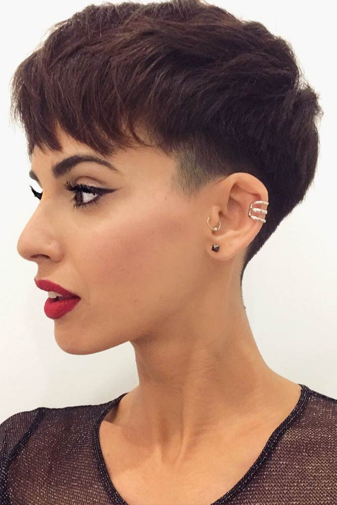 Short Pixie With Shaved Temple #undercutpixie #pixiehaircut #undercut #haircuts