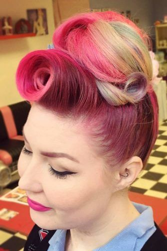 Victory Roll With Bun #updo #bun #victoryroll