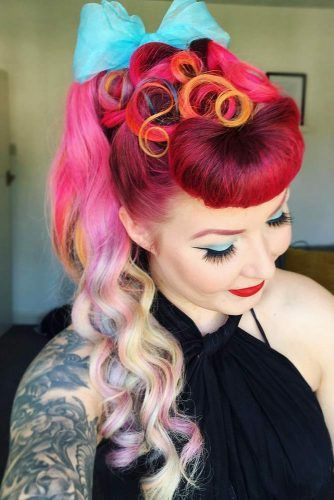 Victory Roll With Ponytail And Curls #updo #ponytail #victoryroll