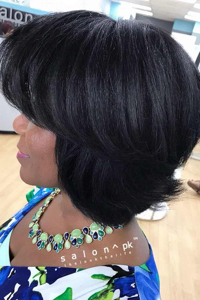 Straight Layered Medium Bob With Bangs #bobhairstyles #hairstyles #haircuts #bobhaircuts