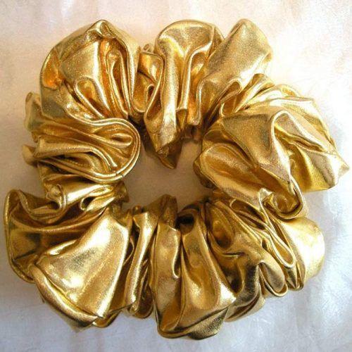 Gold Metallic Hair Scrunchy #scrunchies