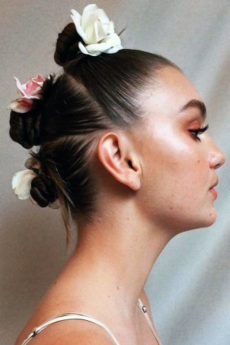 Scrunchies With Roses #updo #scrunchies