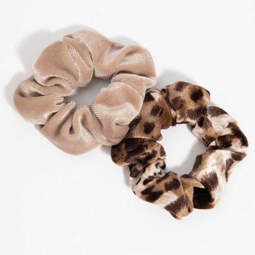 Leopard & Beige Velvet Hair Scrunchie Set #scrunchies
