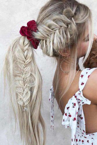 Side Fishtail Braid Into Pony #updo #ponytail #braids #scrunchies