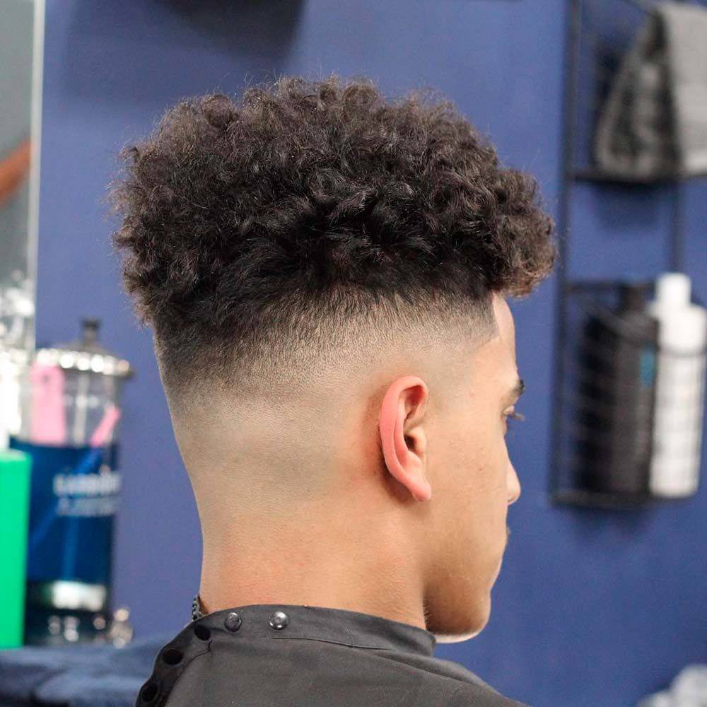 Curly High Top + Mid Fade