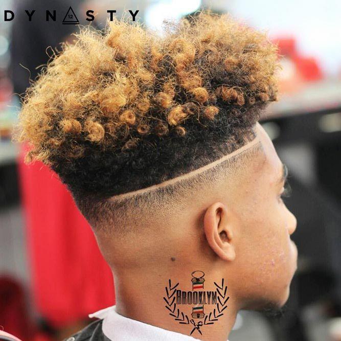 Blonde Top Hard Part #hightopfade #fadehaircut #afrohair #afroamericanhaircut #menshaircuts