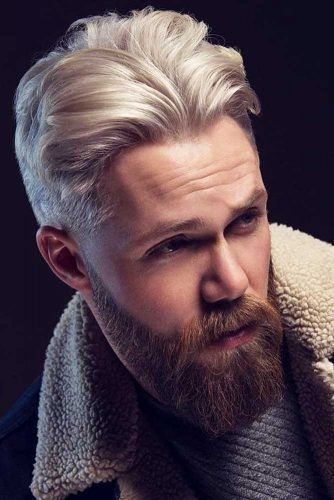 Dyed Top And Beard #hipster #hipsterhaircut #blondehairmen