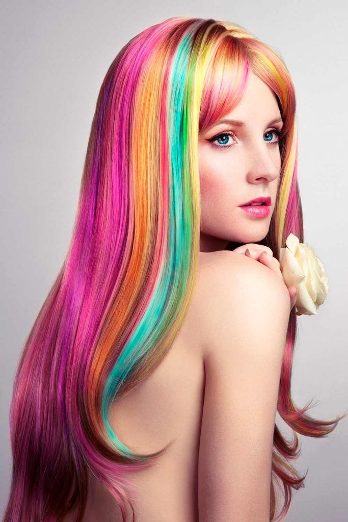 Bright Rainbow Holographic Hair