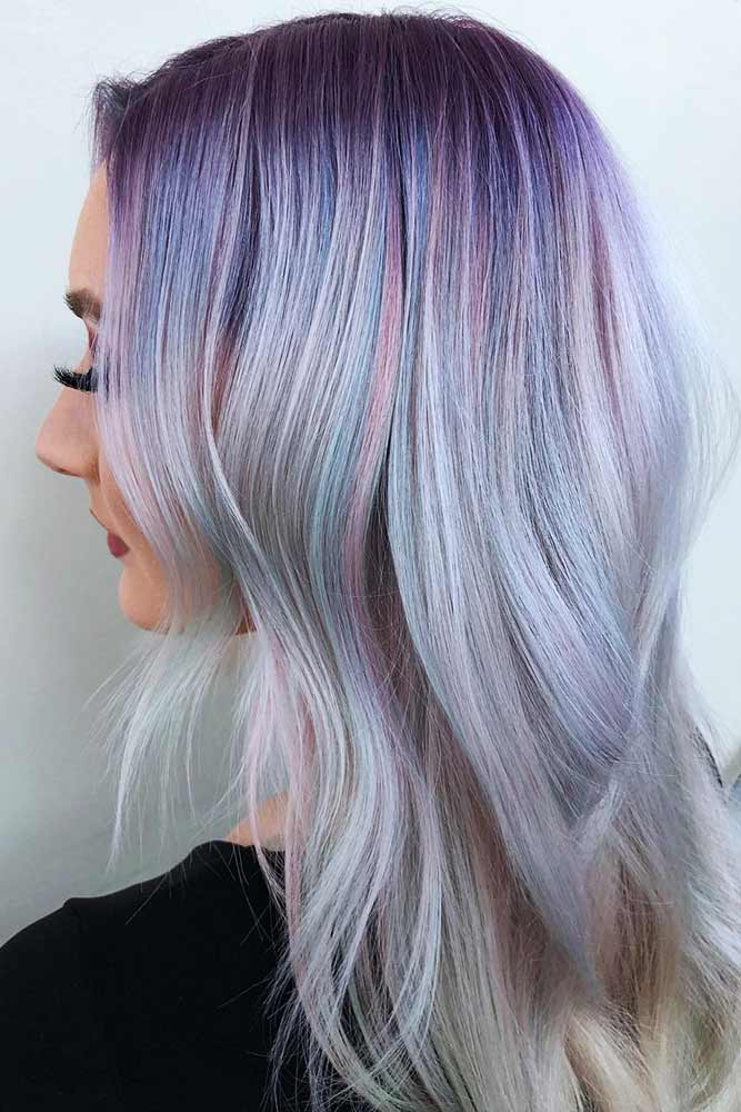 Icy Pastel #holographichair #purplehair