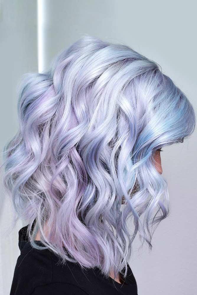 Lavender & Sky Blue Tones #holographichair #bluehair
