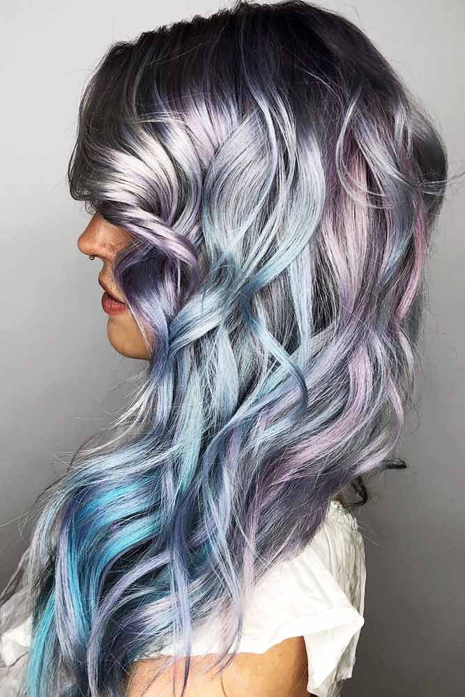 Metallic Holographic Hair #holographichair #bluehair