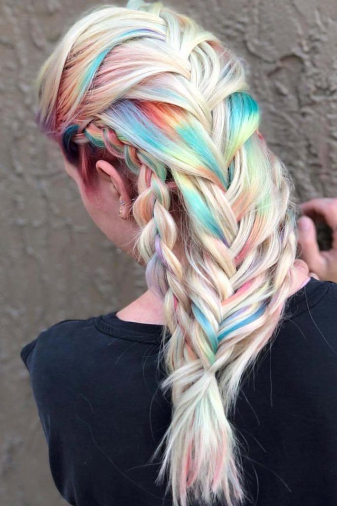 Bright Rainbow Holographic Hair Braid #holographichair