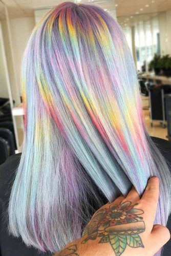Pastel Rainbow Holographic #holographichair #rainbowhair