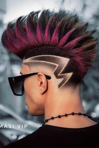 Burgundy Mohawk Fade With Hair Design #mohawkfade #fadehaircut #mohawk #menhaircuts #haircuts