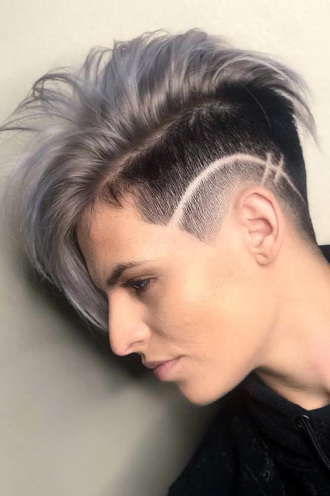 Punky Androgynous Cut With Hair Design #androgynoushaircuts #haircuts #shorthaircuts