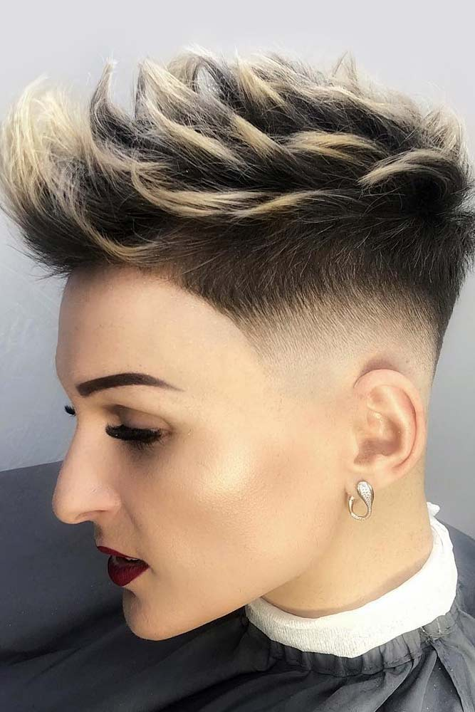 Spiky Style With Skin Fade #androgynoushaircuts #haircuts #shorthaircuts