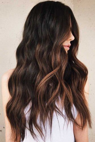 Chestnut Brown Highlights #blackhair #highlights