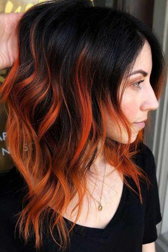Fiery Orange Highlights #brunette #highlights #redhair