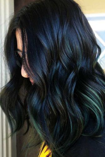 Green Highlights #brunette #highlights
