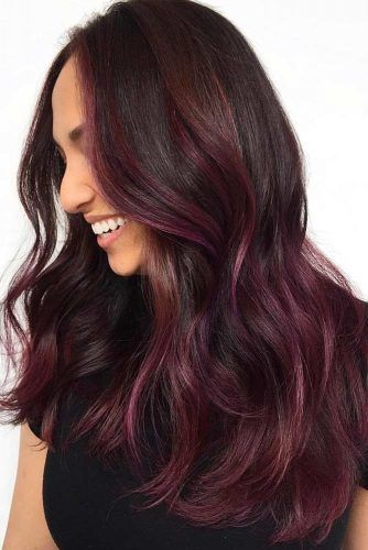 Magenta Lights On Black Hair #brunette #highlights #redhair