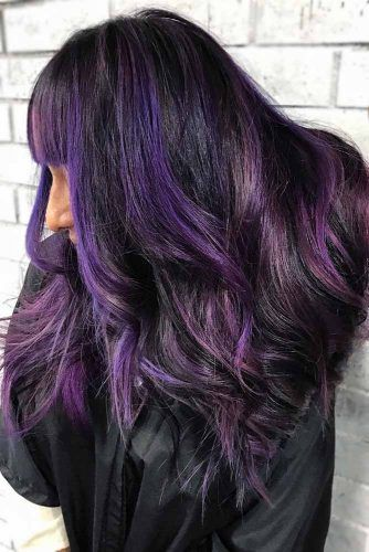 Purple Highlights #brunette #highlights #purplehair
