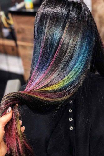 Rainbow Highlights #brunette #highlights #rainbowhair
