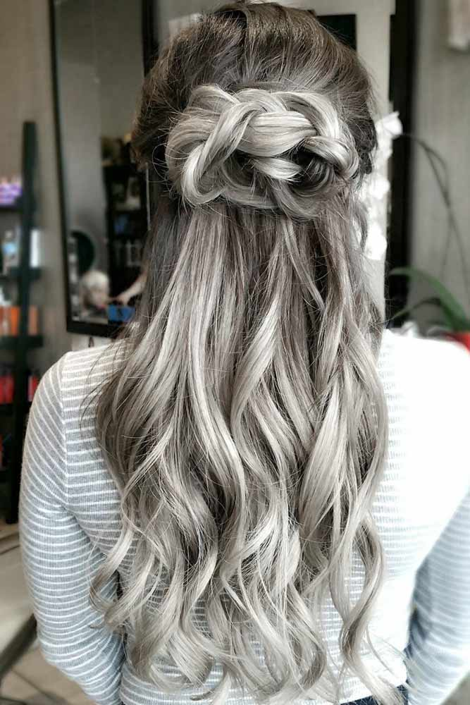 Knotted Braided Style #saltandpepperhair #halfup #baids