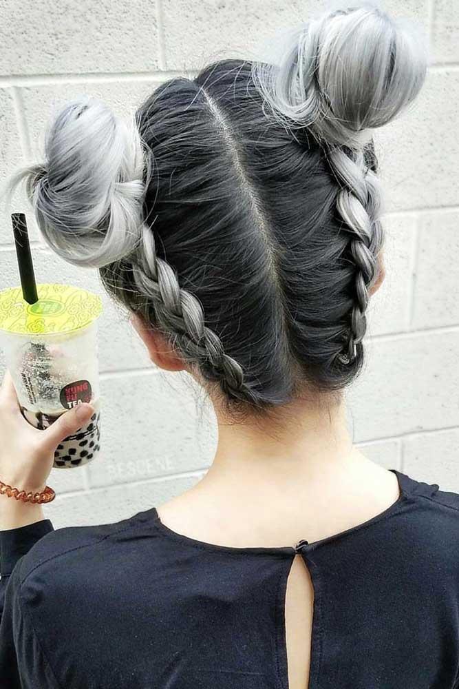 Braided Space Buns #saltandpepperhair #updo #braids #buns