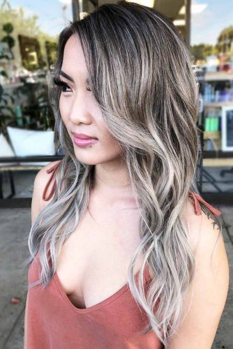 Brownish Salt And Pepper Babylights #saltandpepperhair #highlights