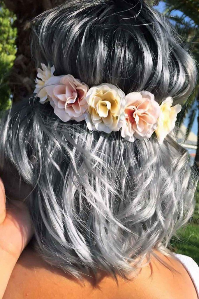 Flowered Headband #saltandpepperhair