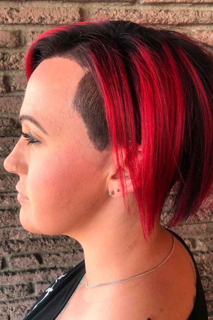 Undercut-Inspired Red Asymmetrical Wedge