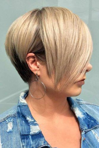 Stacked Wedge With Chic Fringe #wedgehaircut #haircuts
