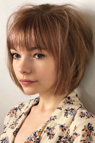 Choppy Straight Bob With Blunt Bangs #choppybob #bobhairstyles #bobhaircuts #hairstyles #haircuts