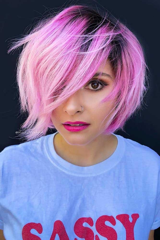 Pink Bob With Dark Roots #choppybob #bobhairstyles #bobhaircuts #hairstyles #haircuts