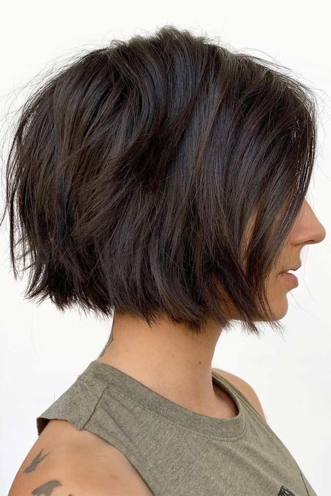 Brown Textured Short Cut #choppybob #bobhairstyles #bobhaircuts #hairstyles #haircuts