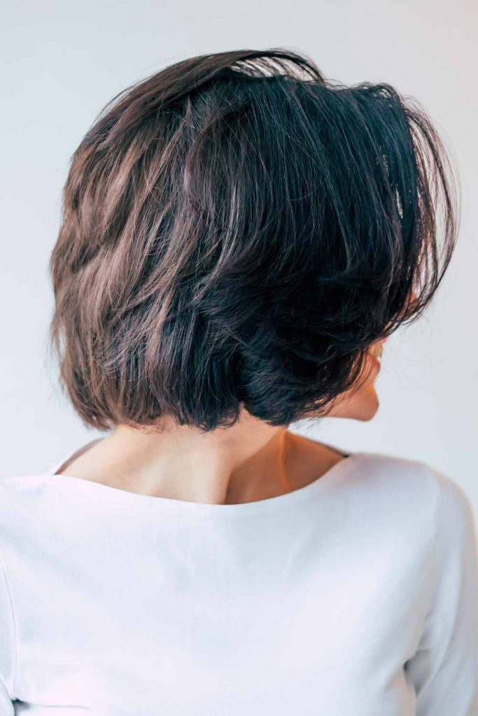 Black Choppy Bob With Center Parted Bangs