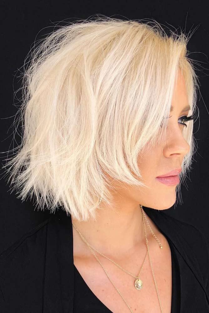 Short Haircut With Long Bangs #choppybob #bobhairstyles #bobhaircuts #hairstyles #haircuts