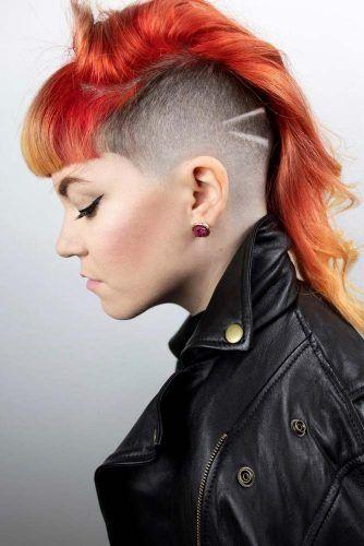 Half Shaved Long Mohawk Bangs  #halfshavedhead #hairstyles #undercut