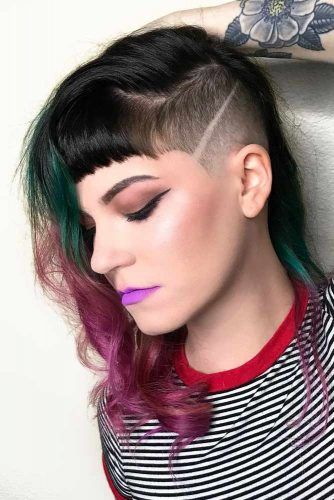 Half Shaved Mid Length Style Bangs #halfshavedhead #hairstyles #undercut