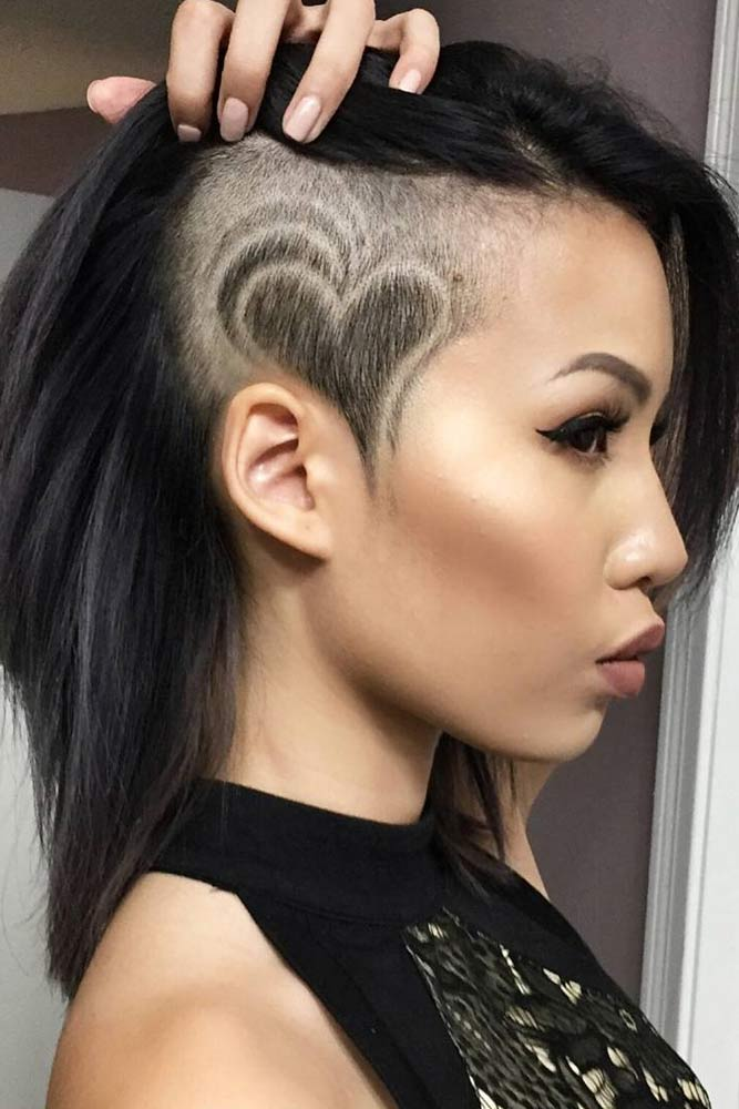 Long Bob Undercut Design #halfshavedhead #hairstyles #undercut