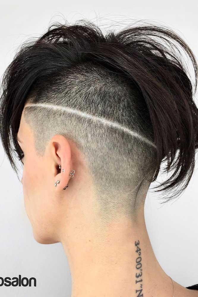 Disconnected & Half Shaved Hairstyle Razored Line #halfshavedhead #hairstyles #undercut