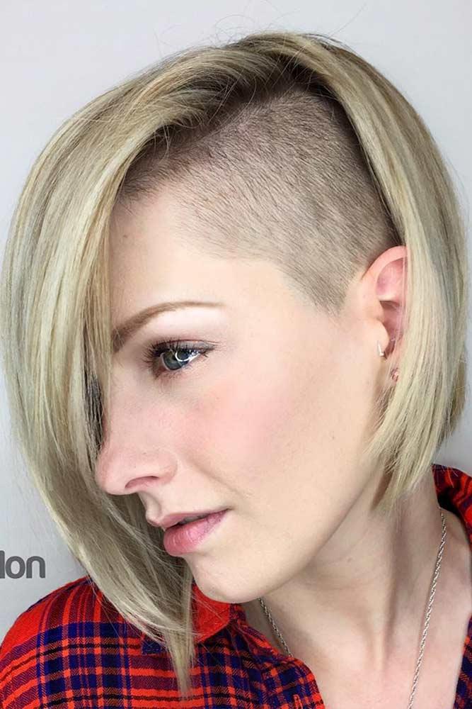 Chic Half Shaved Bob #halfshavedhead #hairstyles #undercut