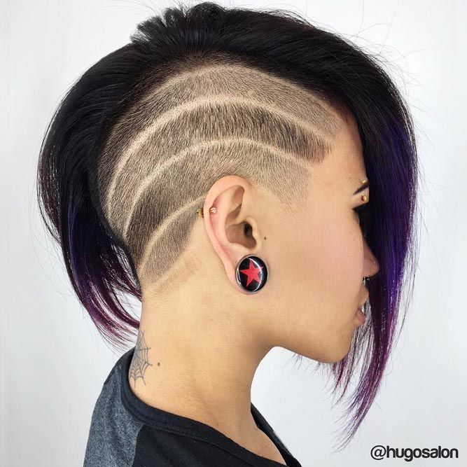 Short Shaved Bob Shaved Stripes #halfshavedhead #hairstyles #undercut