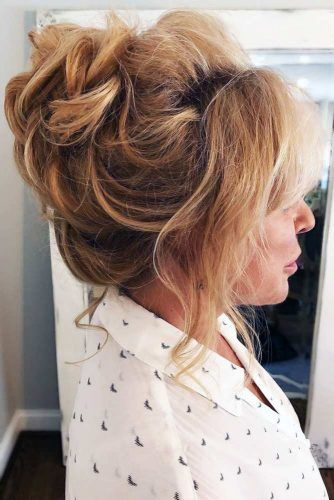 Full Tousled Updo With Bangs #updo #bun #bangs