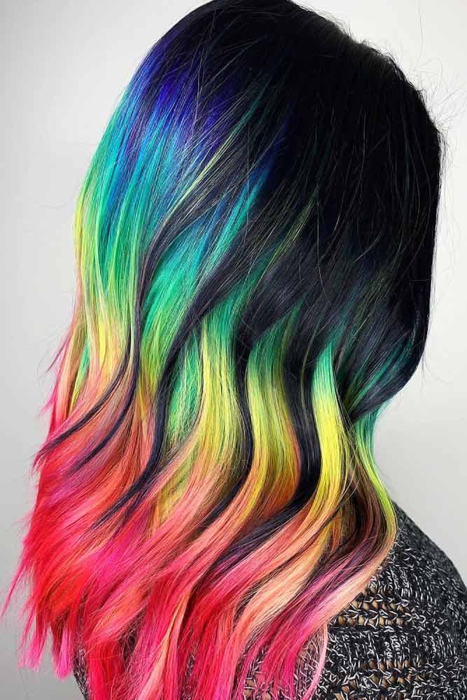 Noir & Neons #peekaboohair #rainbowhair