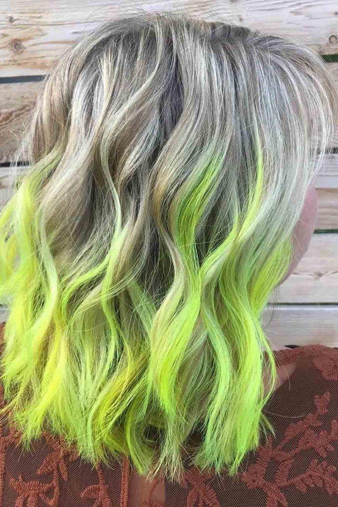 Medium length hair with light green note peekaboo
