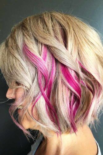 Hidden Fuchsia Lights #peekaboohair #blondehair #pinkhair