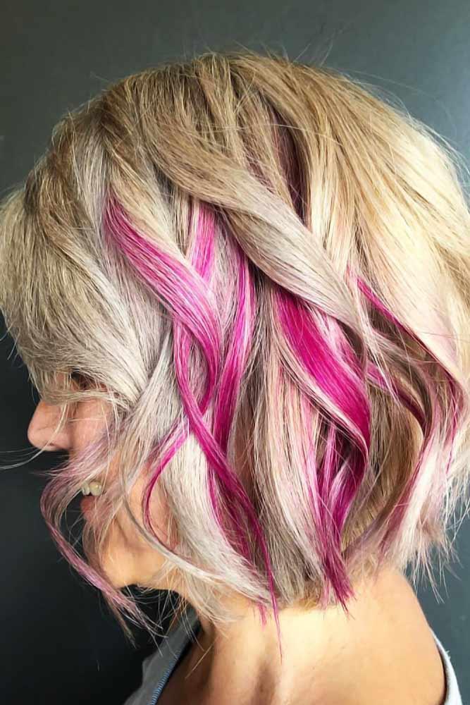Hidden Fuchsia Lights #peekaboohair #blondehair #pinkhair