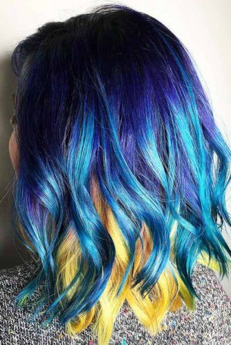 Yellow Peekaboo With Blues #peekaboohair