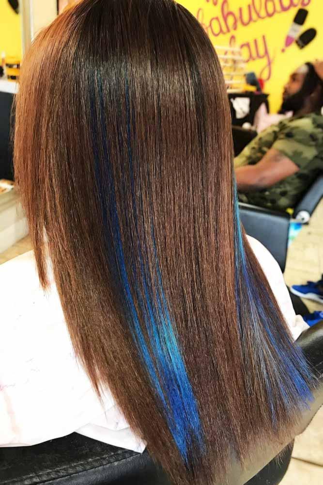 Blue Peekaboo For Brown Hair #peekaboohair #brunette